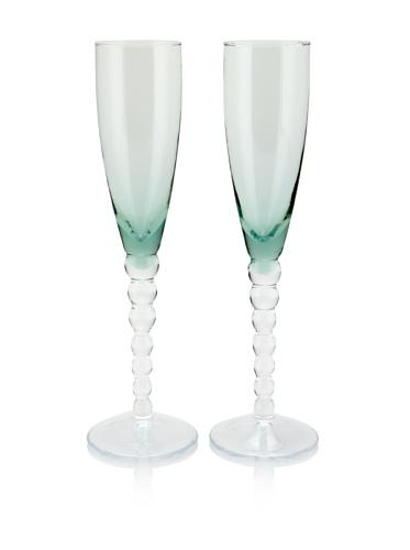 Villa d'Este Set of 2 Champagne Flutes (Green)