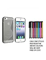 Mobicom Clear Smoke S Line Shape Wave TPU Rubber Case For Apple iPhone 4 4S 4G + Free STYLUS Pen