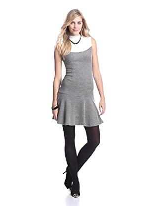 Muse Women's Flare Hem Combo Dress (Black/White Ecru)