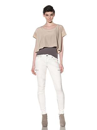Workcustom Women's Zip Skinny Jeans (Vanilla Swirl)