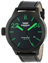 Haemmer Men's HQ-07 Caracas Ion-Plated Gun Coated Stainless Steel Green Hands Limited Edition Watch