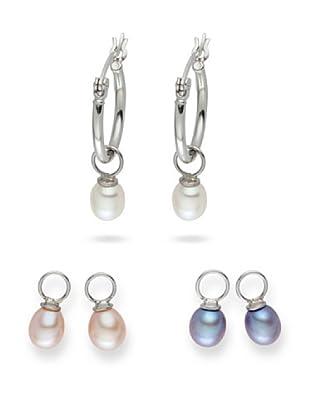 Yamato Pearls Ohrringe, 3-Er Set Einhängersüßwasser-Zuchtperlen