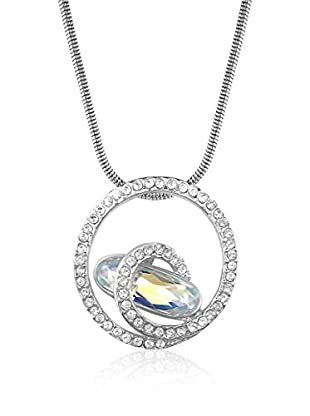 Absolute Crystals Conjunto de cadena y colgante Swirl Baguette Long Plateado