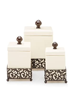 Home Essentials Set of 3 Danbury Square Canisters with Pressed Metal Holders, Off-White/Bronze