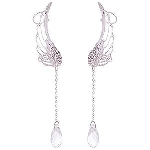 Ashiana Drop Tassel Angel Wings Ear Cuff - Silver