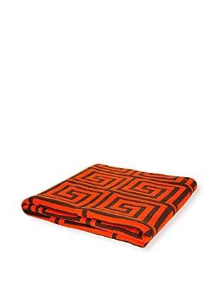 PÜR Cashmere Jacquard Greek Key Pattern Throw, Celosia Orange