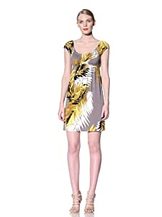 Muse Women's Palm Print Dress (Yellow/grey)