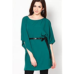 Poncho Sleeve Green Solid Kaftan