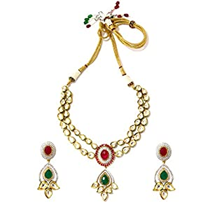Daamak Jewellery Cz Necklace Set With Paisely Motif