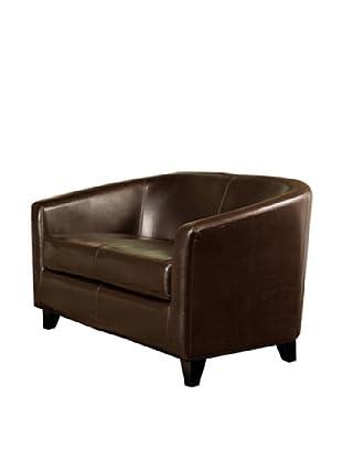 Abbyson Living Rossten Leather Loveseat, Dark Truffle