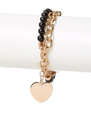 Chloe Collection By Liv Oliver Rose Heart & Black Bead Bracelet