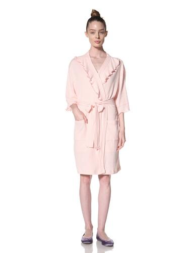 Aegean Apparel Women's Short Solid Knit Gauze Ruffle Robe (Light Pink)