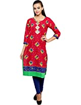 Ritzzy Creations Women's Kurti (Rzpesk334_Xl, Red, Xl)