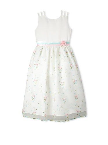 Jellybean of Miami Girl's Plus Size Pastel Triple Ribbon Dress (Off-White/Pastels)