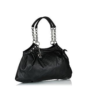 Butterflies Perforated Design Hand Bag (Black)_BNS 0350