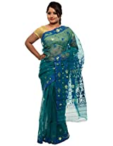 Green Jamdani Cotton Silk Saree with blouse piece (JOSR0000062, Green)
