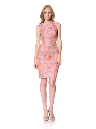 Theia Womens Jacquard Dress with Contrast Satin Piping (Peony)