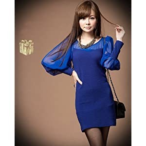 Santana Women See-through Gauze Patched Blue Lantern Sleeve Slim Dress