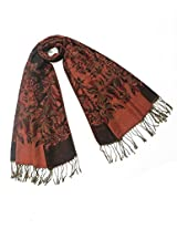 Dahlia Women's Scarf Shawl - Reversible Blooming Floral Garden - Black Red