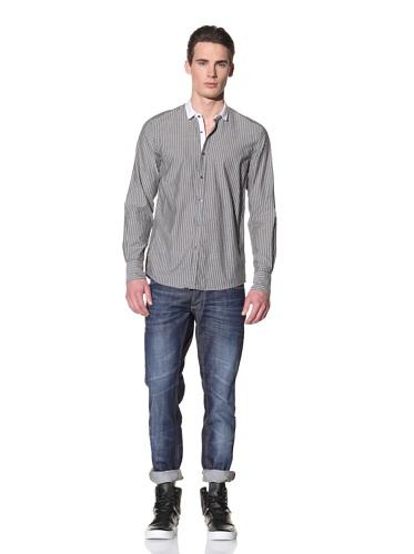 Antony Morato Men's Long Sleeve Pinstripe Shirt (Grey)