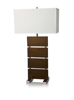 Nova Lighting Divide Standing Table Lamp, Dark Brown/Nickel/White