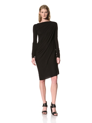 RICK OWENS Women's Long Sleeve Dress with Side Drape (Black)