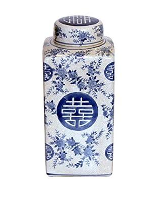 Asian Loft Ceramic Square Oriental Pattern Ginger Jar, Blue/White