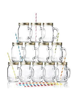 ACME Party Box Set of 12 Mason Mugs & Straws