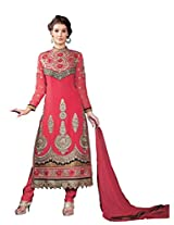 Red Georgette Party & Wedding Wear Heavy Zari Embroidery Churidar Suit 3101