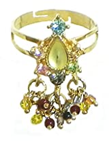DollsofIndia Green Stone Studded Jhalar Adjustable Ring - Stone and Metal - Green