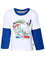 Cucumber Doctor Sleeves T-Shirt Dark Blue - Tom And Jerry Print