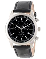 Lucien Piccard Men's LP-11570-01 Eiger Chronograph Black Dial Black Leather Watch