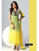 Latest Styles Green Yellow Designer Glorious Designer Anarkali Suits