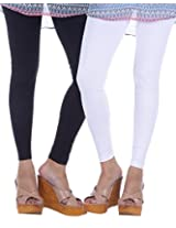 Nakhrali Women's Cotton Slim Fit Elite Ankle Length Leggings ( Pack of 2) (NKE-AL-CP01, Black, White, XX-Large)