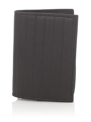Joseph Abboud Men's Pinstripe Embossed Flip Passcase Wallet (Brown)