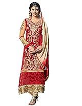 Vibes Women Gorgette Salwar Suit Dress Material (V170-1401 -Red -Free Size)