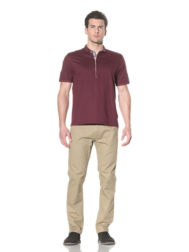 Ted Baker Men's Trendee Short Sleeve Grandad Neck Top (Dark Red)
