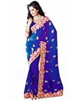 Orbymart Blue And Red Color Chiffon Saree - 55191066