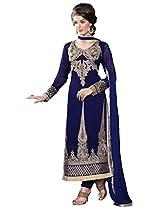 Purple Georgette Party & Wedding Wear Heavy Zari Embroidery Churidar Suit 3102