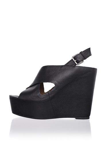 Dolce Vita Women's Julie Wedge Sandal (Black Leather)