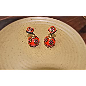 Artistri Orange And Pink Dot Jhumkas With Kite Stud Earrings