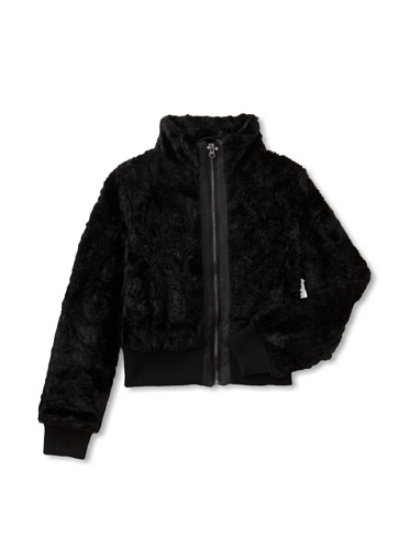 Coffee Shop Girl's Crushed Faux Fur Jacket (Black)