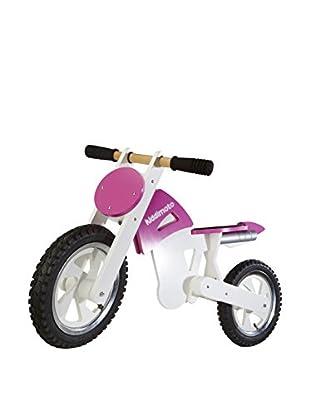 Kiddimoto Laufrad Scrambler Motocross weiß/magenta