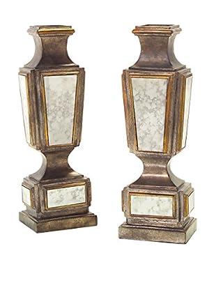 John Richards Collection Set of 2 Antiqued Mirror Candlesticks, Bronze/Gold