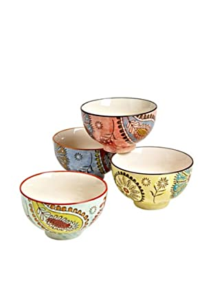 Couleur Nature Set of 4  Paisley Ceramic Bowls