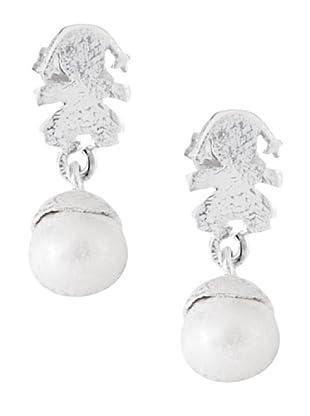 Yocari Pendientes de Plata Perla Blanca ONPE021