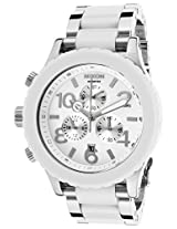 Men'S 42-20 Chrono Silver-Tone Steel And White Acetate Bracelet White Dial (A037898-00)