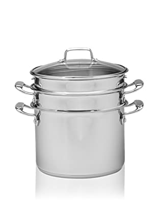 MIU France Stainless Steel Pasta Cooker and Steamer with Glass Lid, Silver, 8-Qt.