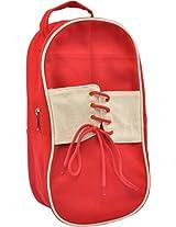 Fair Brigade Red & White Shoe Bag (Handmade From Canvas)