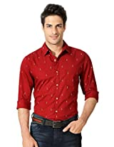 Peter England Red Printed Cotton Shirt